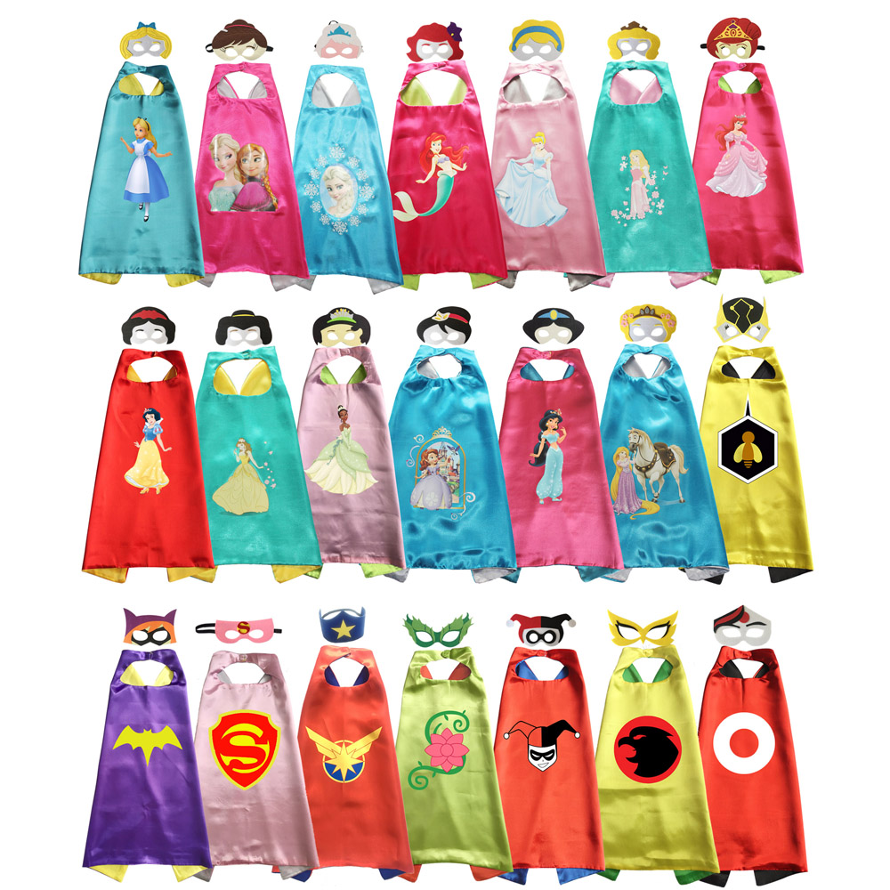 Princess Girls Halloween Costume Capes With Masks Kids Costume Dress Up Pretend Girls Costume Gift DC Super Girls Cosplay