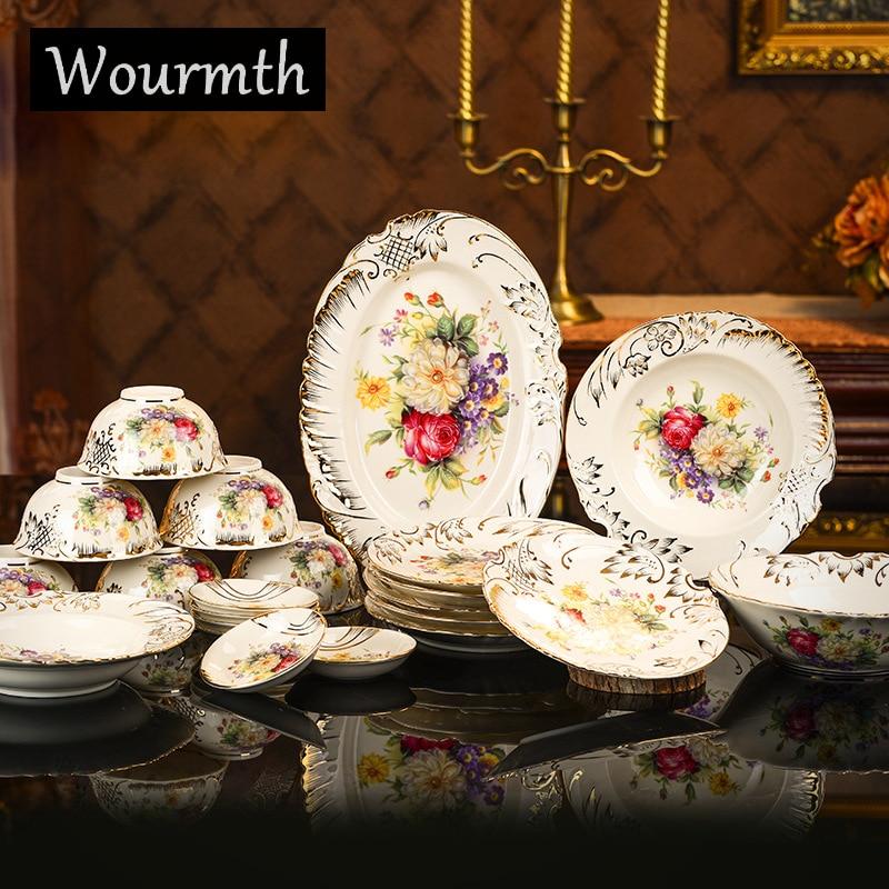 Vaisselle européenne boîte-cadeau porcelaine ivoire lait   Jaune, peint à la main or Rose, ensemble d'assiettes de bols et de disques 28 pièces, cadeau de mariage