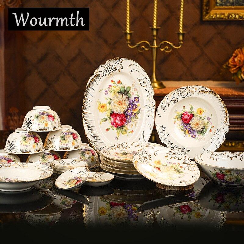 Vaisselle européenne boîte-cadeau porcelaine ivoire lait | Jaune, peint à la main or Rose, ensemble d'assiettes de bols et de disques 28 pièces, cadeau de mariage
