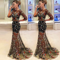 black embroidery floral dress see through vestidos robe femme kleider party long dress fashion woman clothes