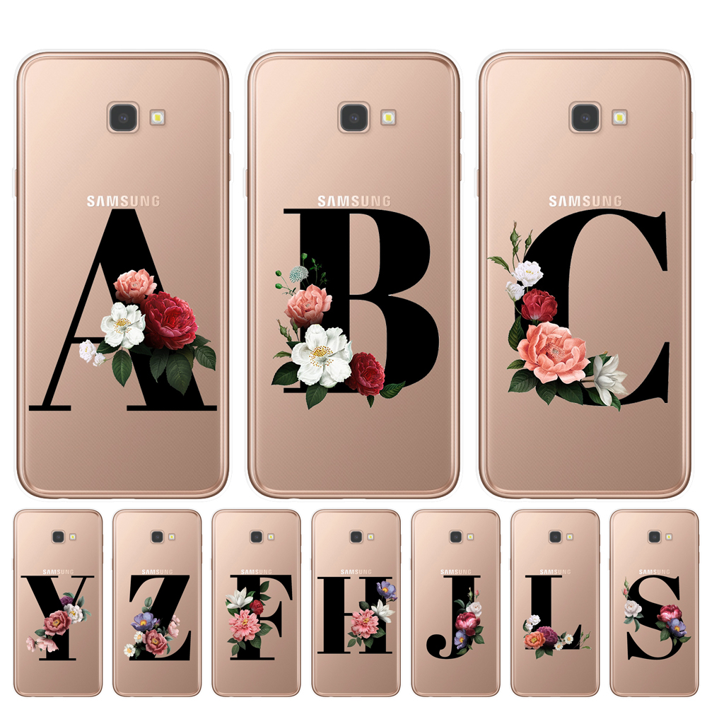 PERSONALISED INITIALS FLOWER PHONE CASE CLEAR HARD COVER FOR SAMSUNG A5//A8//J3//J5