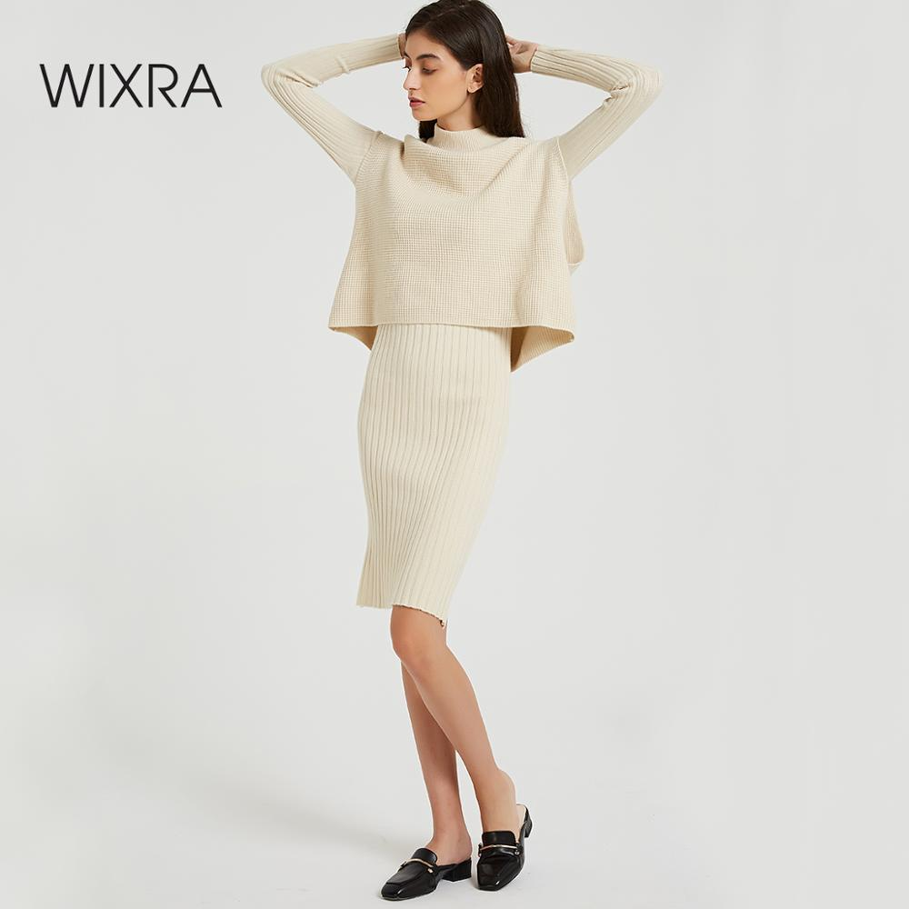 Wixra Loose Sleeveless Sweater + Knitted Dress Sets Elegant Long Sleeve Knee-Length Bodycon Two Pieces Suits Autumn Spring
