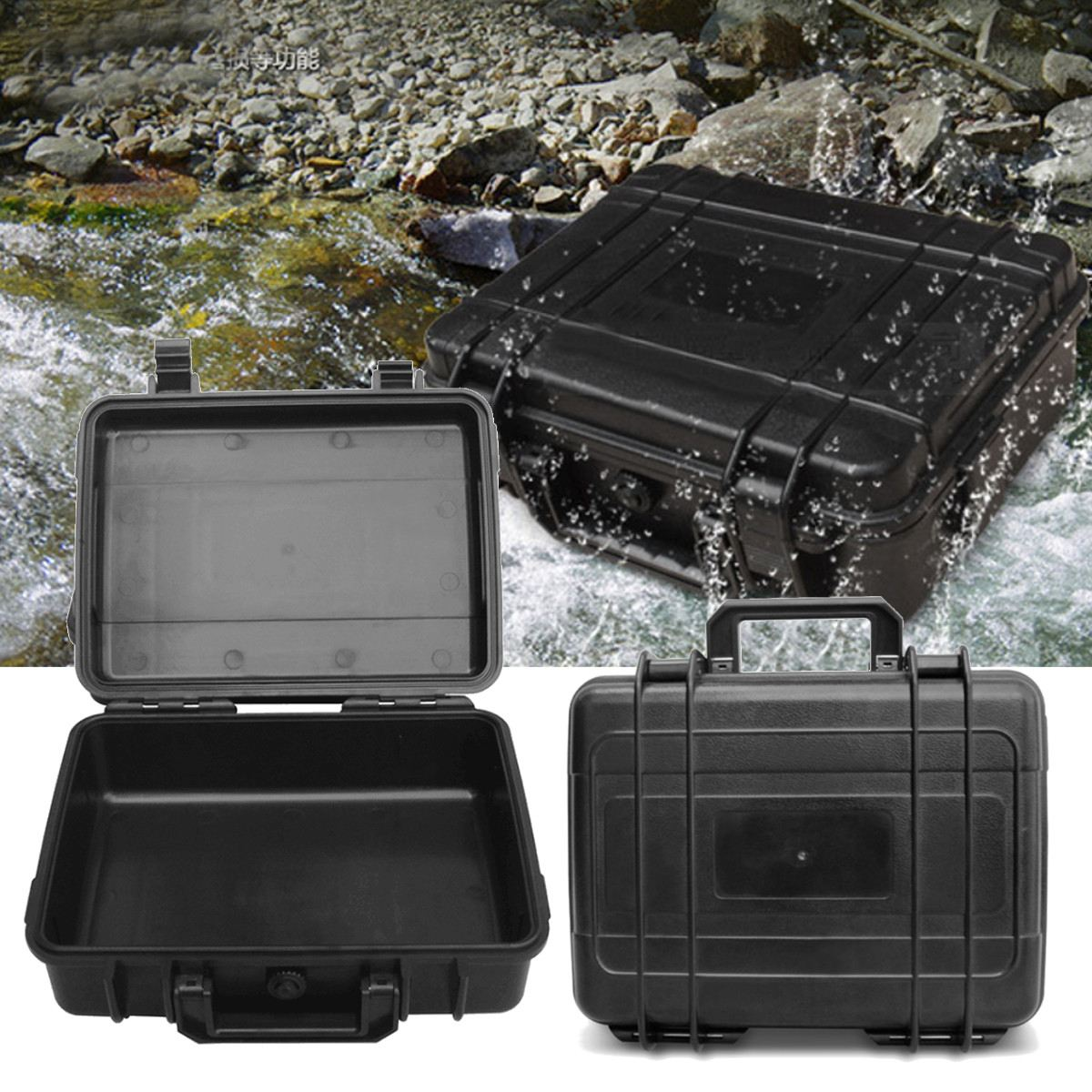 3Sizes Hard Carry Tool Case Toolbox Waterproof Hard Carry Case Plastic Equipment Protective Storage Boxes