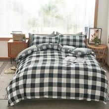 Solstice Juego de cama de celosía a rayas blancas y negras, funda de edredón de lino para niños y niñas, sábana para cama, funda de almohada