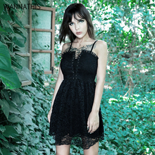 WannaThis Gothic Women Party Lace A-line Dresses Black Up Spaghetti Straps Backless Hight Waist Elegant Slim