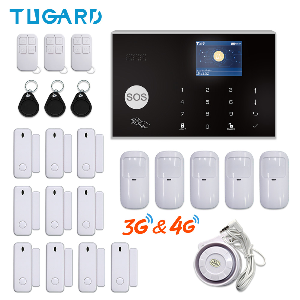 TUGARD WiFi 3G 4G GSM Home Security Alarm System Tuya Smart Burglar Alarm Kit with 433MHz Wireless Detectors Remote Arm&Disarm