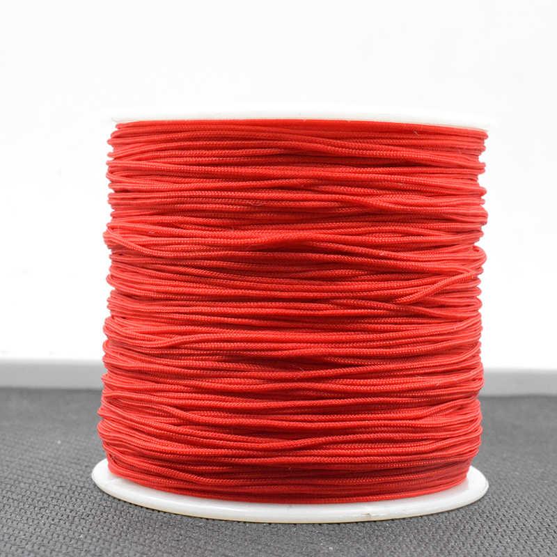 Rojo 1 rollo 0,8 M nudo chino Cordón de macramé hilo de cable para DIY collar pulsera trenzada cuerda B001