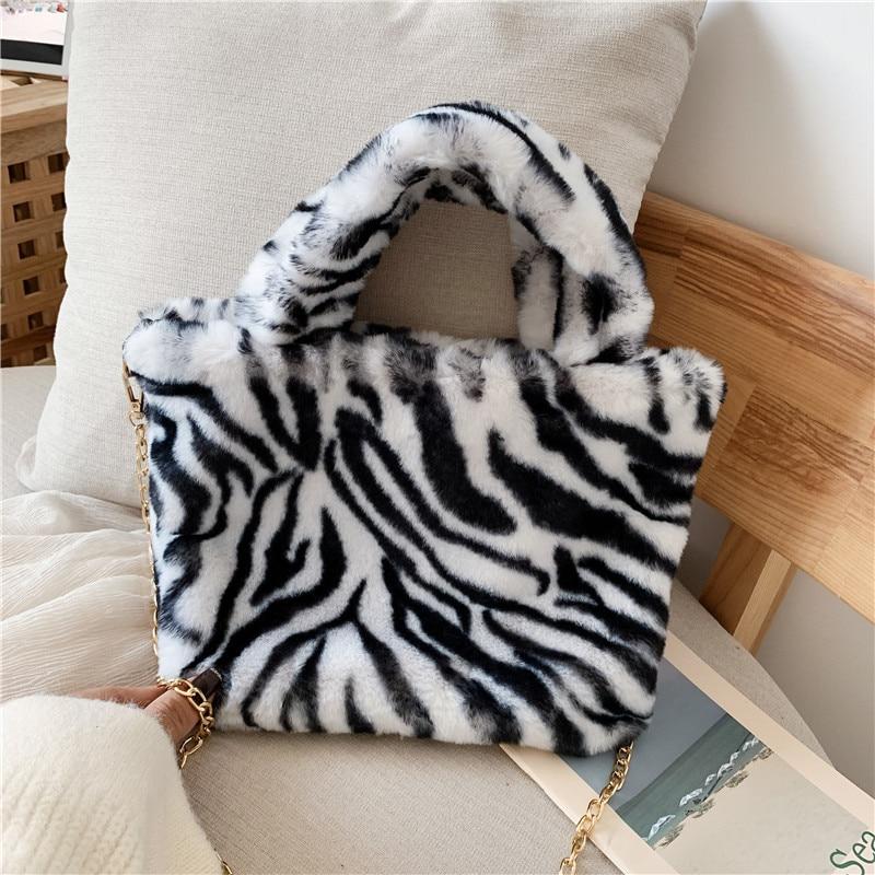 Winter new fashion shoulder bag female leopard female bag chain large plush winter handbag Messenger bag soft warm fur bag 7