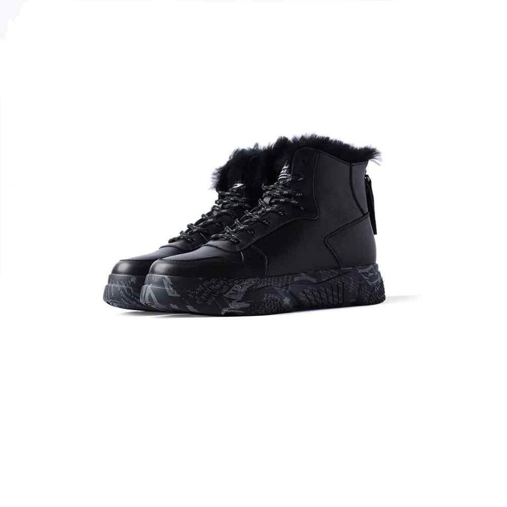 Krazing Pot yeni kış sıcak eğlence tarzı inek deri kar botları yuvarlak ayak med topuklu kadın moda ayak bileği bağcığı botları l32