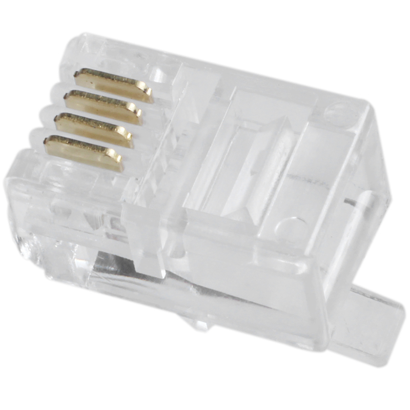 Hot 3C-Clear Plastic 30 Pcs 4P4C Connector RJ9 Phone Adapter