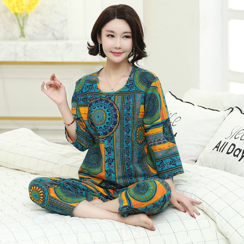 Middle-aged And Elderly Women Pajamas 2020 Spring Autumn Summer Nightwear Suit Pants Nightgowns  Sets Mom Elegant Home Service