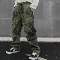 Dark Icon Tie Dyeing Big Pockets Hiphop Pants Men Street Fashion Men's Trousers Straight Style Pants for Men Green