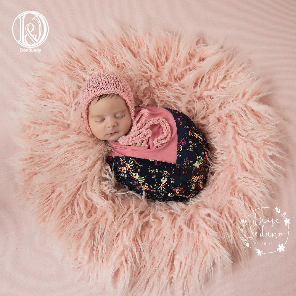 Don&Judy Round 60cm Newborn Baby Infant Photo Blanket Fake Fur Rug Blankets Photography Background Baby Photo Shoot For Studio
