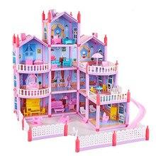 Princesa grande villa diy casas de bonecas casa muñecas rosa castelo jogar casa com slide quintal kit montado boneca casa brinquedos