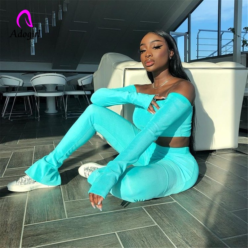 Fitness Women Slash Neck Tops And Pants Sets 2019 Autumn Winter Ribbed Skyblue Tracksuits Casual Streetwear Bodycon Sport Suits