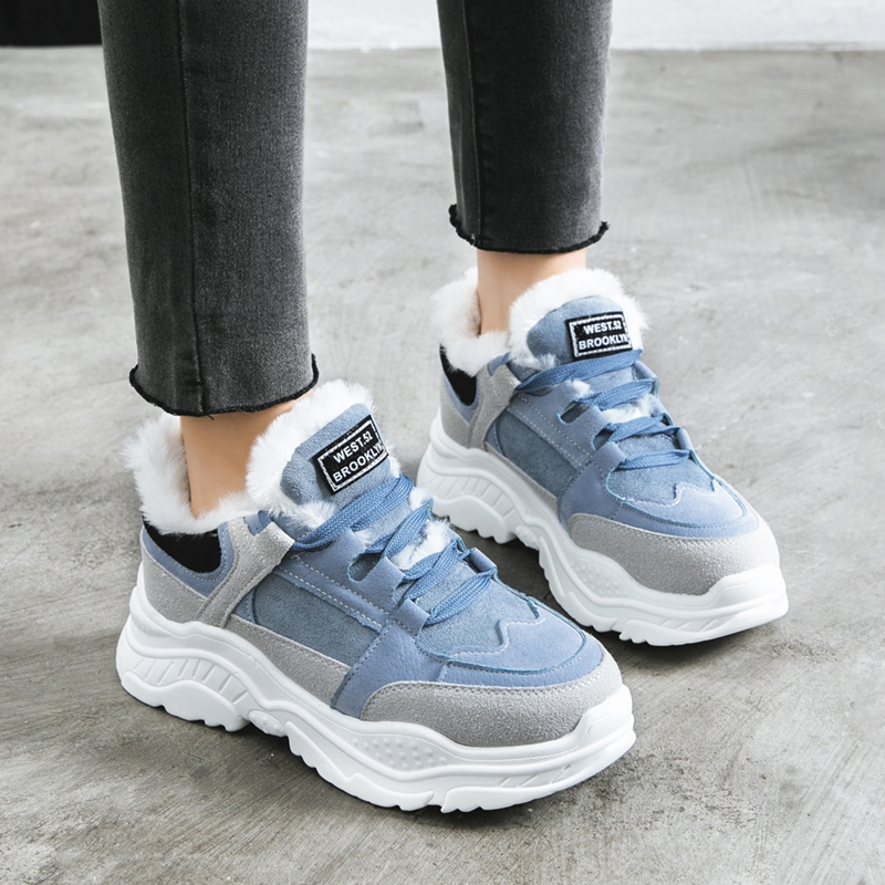 Women Sneakers Winter Blue Gray Plush Ladies Shoes Lace-up Warm Fur Thick Bottom Shoes Chunky Sneakers Femme