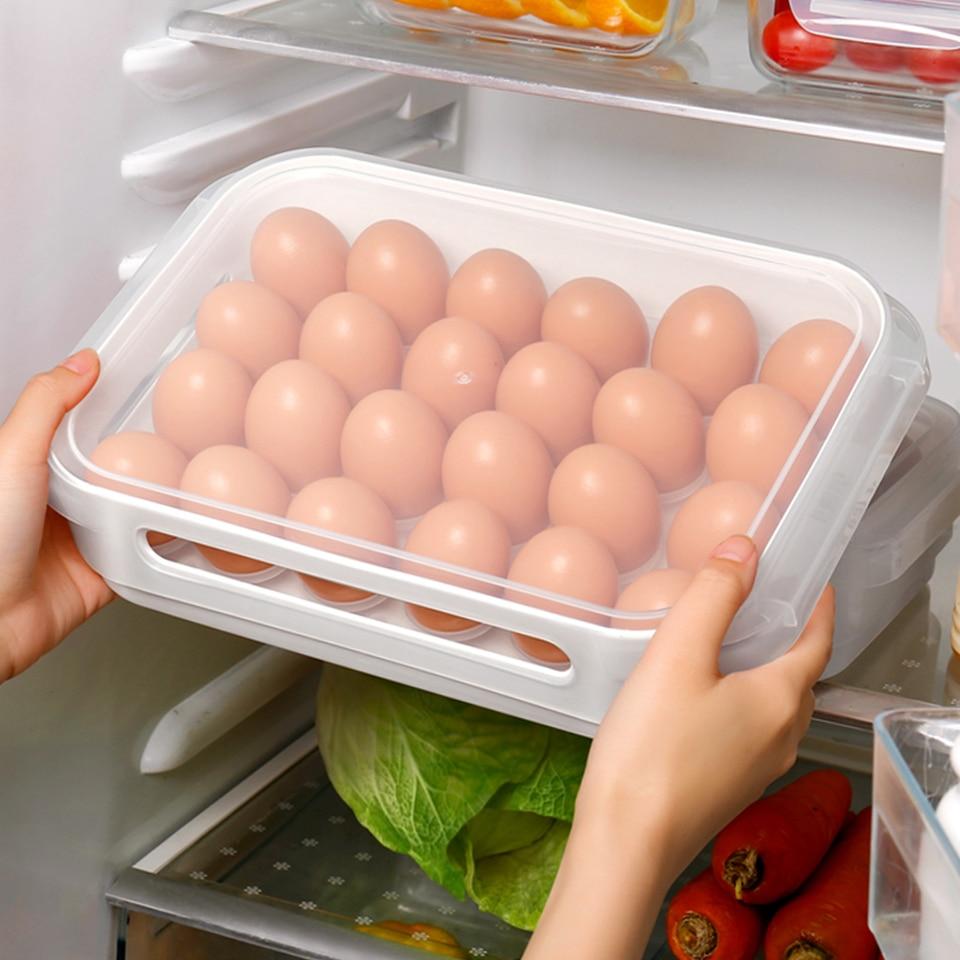 Haoun Huevo Huevo Almacenamiento Contenedor para Frigor/ífico Huevera Bandeja con Tapa Huevos Caja Pl/ástico 15 Huevos Set de 2