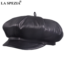 LA SPEZIA Newsboy Caps Berets Women Black Real Leather Octagonal Hat Ladies Genuine Spring Autumn Classic Painter