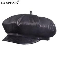 LA SPEZIA Newsboy Caps Berets Women Black Real Leather Octagonal Hat Ladies Genuine Spring Autumn Classic Painter