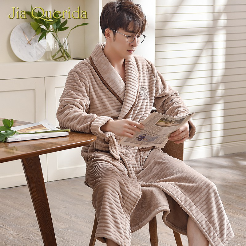 Khaki Robes For Men Teddy Style Long Robe Winter Soft And Warm Flannel Striped Pocket Plus Size Turn-down Collar Mens Bathrobe