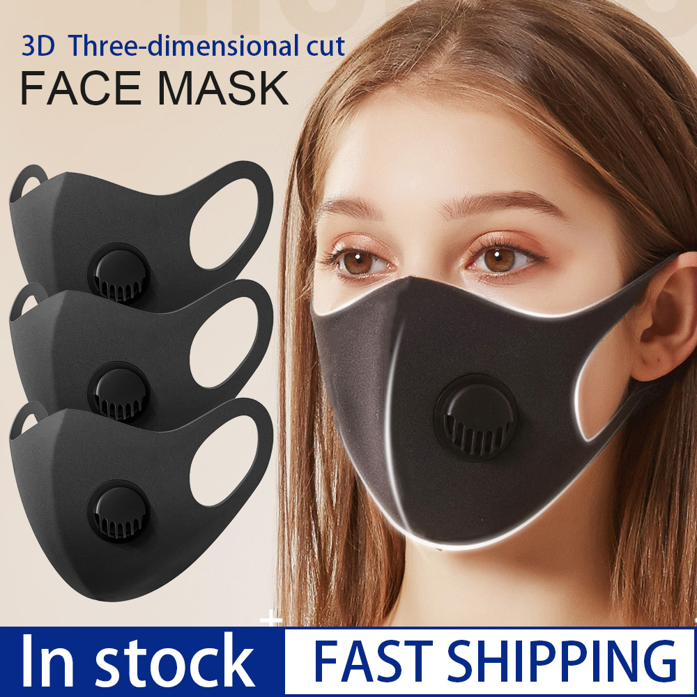 In Stock Black Face Mask With Breathing Valve Pollution PM2.5 Mouth Mask Respirator Windproof Reusable Mask Washable Masque Mask