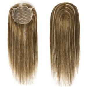 """Image 3 - Neitsi 16 """"20"""" 6*6.5 """"자연적인 인간적인 Toupee 머리 조각에 있는 클립을 가진 똑바른 실크베이스 처녀 표피 여자 Remy 머리 토퍼 가발"""