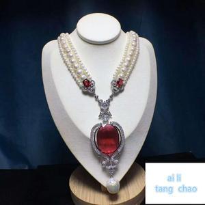 Image 4 - Mão atada branco natural pérola de água doce luxo multicamadas camisola corrente colar moda jóias