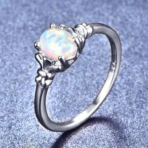 Blaike Luxury White Gold Filled Oval Opals Rings for Women White/Blue/Purple Fire Opal Birthstone Ring Wedding Party jewelry(China)