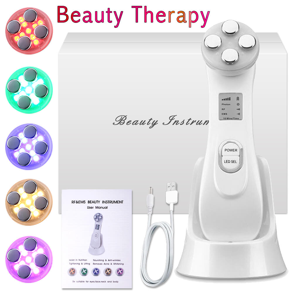 LED Beauty Light Skin RF EMS Face Colors Photon Treatment Lifting Tighten Anti Facial Wrinkle Mask Therapy Body Care SPA Device