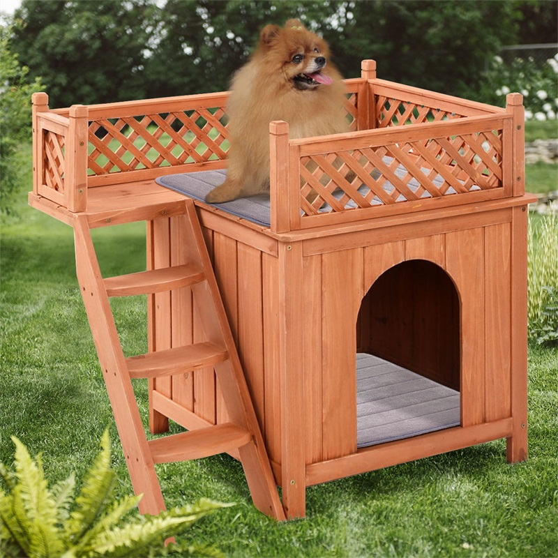 Outdoor Weather Resistant <font><b>Wooden</b></font> Puppy Pet <font><b>Dog</b></font> <font><b>Kennel</b></font> House with Side Ladder PS6091 image