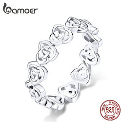 bameor Vintage Pattern Rose Finger Rings for Women Band Genuine 925 Sterling Silver Stackable Ring Fashion Jewelry Bijoux BSR059