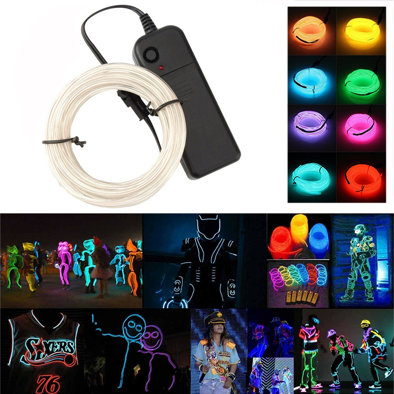 1M/3M EL Light Strip Flash Neon Light Line Battery Box Controller Neon Dance Party Decoration Christmas Atmosphere Light Strip