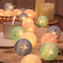 20 LED Cotton Ball String Garland Light Christmas Fairy Lamp 2.2M Outdoor Holiday Wedding Party Bed Decoration