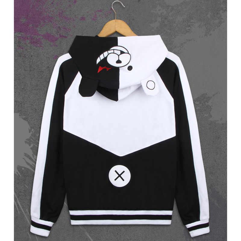 Anime Danganronpa Dangan Ronpa Monokuma 코스프레 의상 두꺼운 운동복 스웨터 스웨터 까마귀 자켓 코트