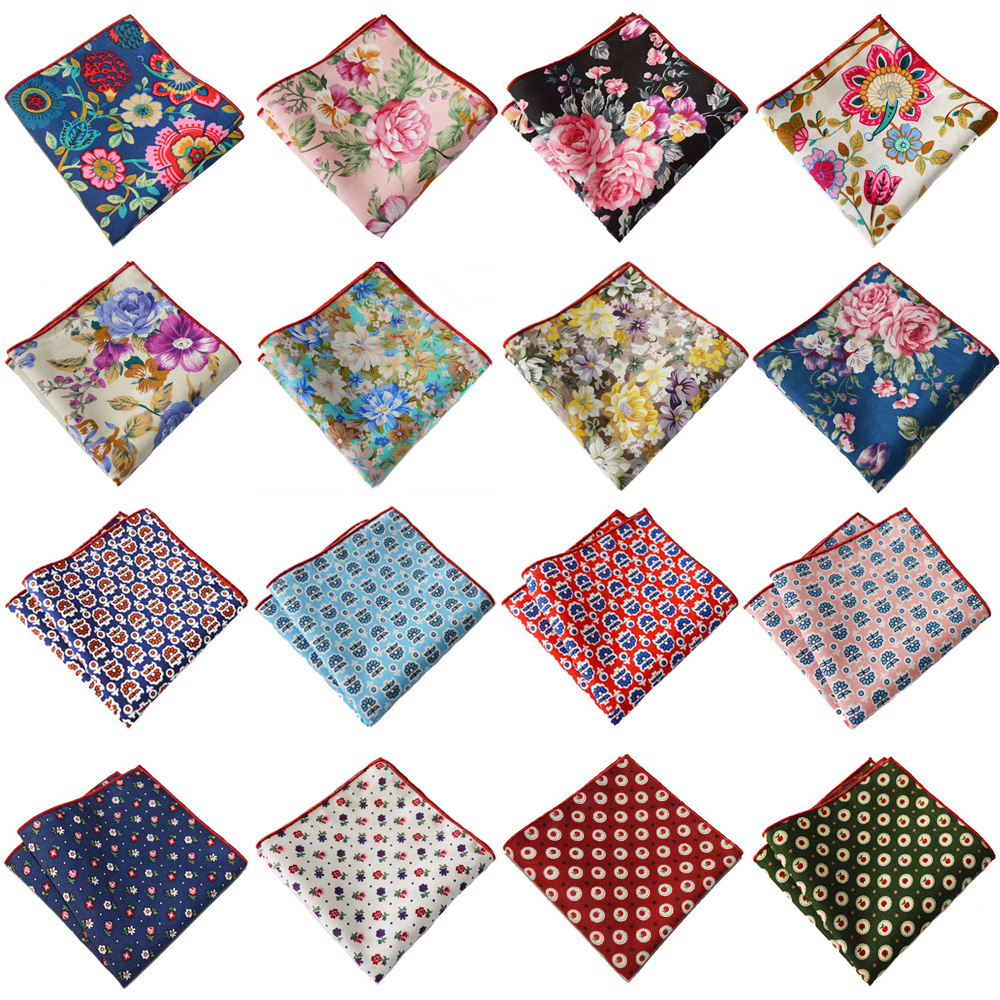 Mens Suit Handkerchief Colorful Floral Printed Hanky Wedding Party Pocket Square YXTIE0320