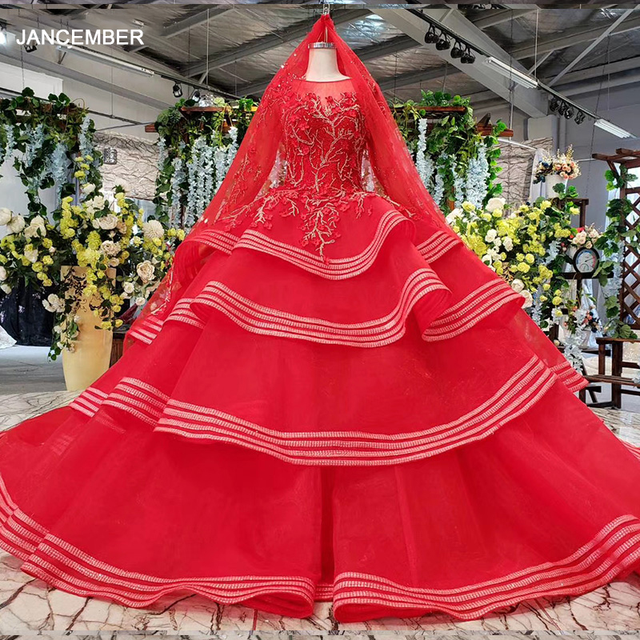 HTL834 muslim wedding gowns long sleeves beading appliques o neck red wedding dress with bridal veil ball gown vestido festa