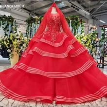 HTL834 מוסלמי שמלות כלה ארוך שרוולים ואגלי אפליקציות o צוואר אדום חתונה שמלה עם כלה רעלה כדור שמלת vestido festa