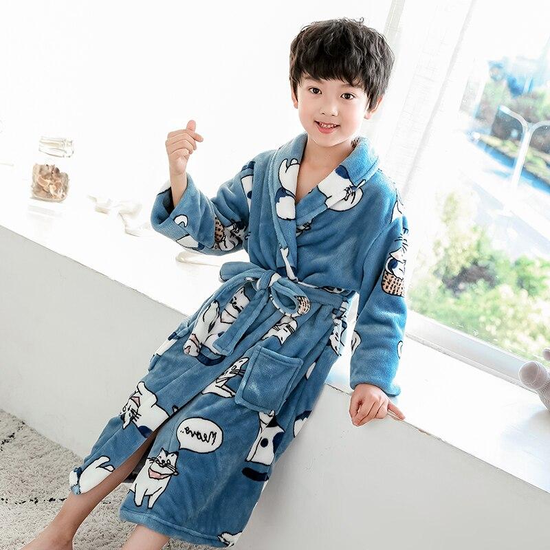 Kids Bathrobe for Boys Spring Winter Lively Animal Print Pajamas Warm Children Pyjama Teenager Boys Bath Robe Swimming Clothing 5