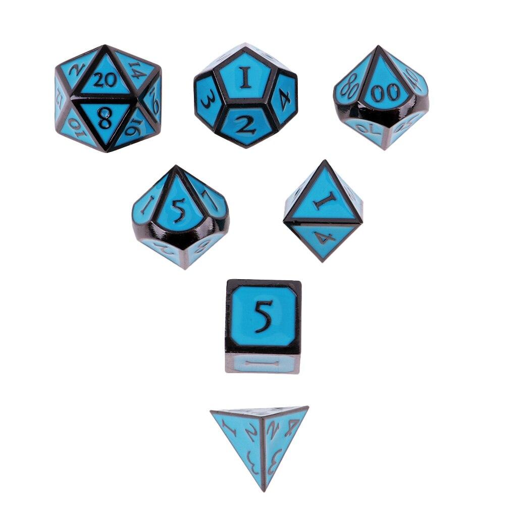 New D&D Dice Board Game set of 7 sided die D4 D6 D8 D10 D12 D20 Blue