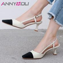 ANNYMOLI Real Leather High Heel Slingbacks Shoes Women Pumps Square Toe Thin Heels Buckle Footwear Lady Black Brown Plus Size 43 цена 2017