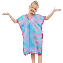 Fioday New Summer Cover-ups Swimsuit for Girls Soft Wraps Beach Dress with Pompom Tassel Chlid Casual Swimsuits Beachwear