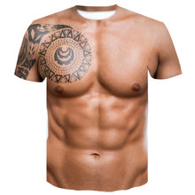 New in 2021, Harajuku 3D interesting pattern naked T-shirt skin chest muscles men's strange shirt T-shirt top