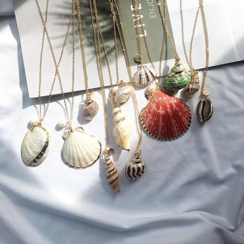 Ailodo Boho Vỏ Ốc Xà Cừ Vòng Cổ Biển Bãi Biển Vỏ Dây Chuyền Nữ Collier Femme Vỏ Cowrie Mùa Hè Trang Sức 19DEC09