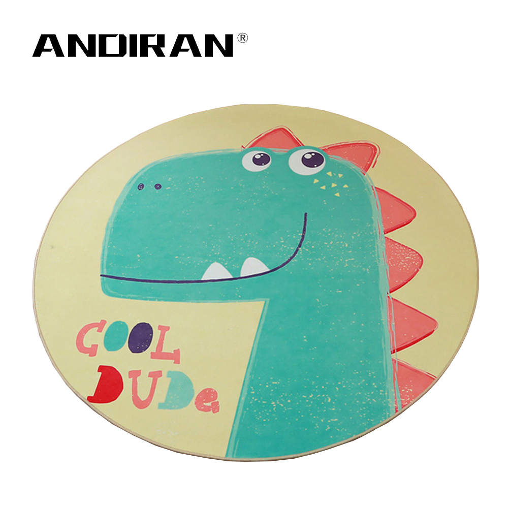 Baby Play Mat Puzzle Children's Room Cartoon Round Carpet Bedroom Lovely Dinosaurs Crawling Rug Machine Washable