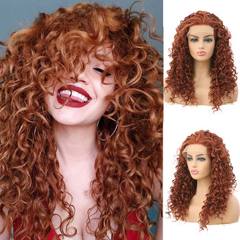 AIMEYA Copper Brown Deep Curly Synthetic Lace Front Wig For Black Women Free Part Natural Hairline Half Hand Tied Wigs