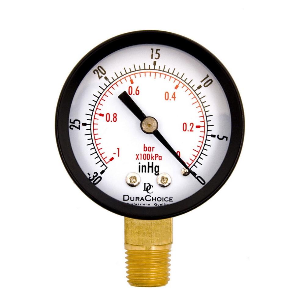 Dry Utility Vacuum Pressure Gauge Blk Steel 1/4