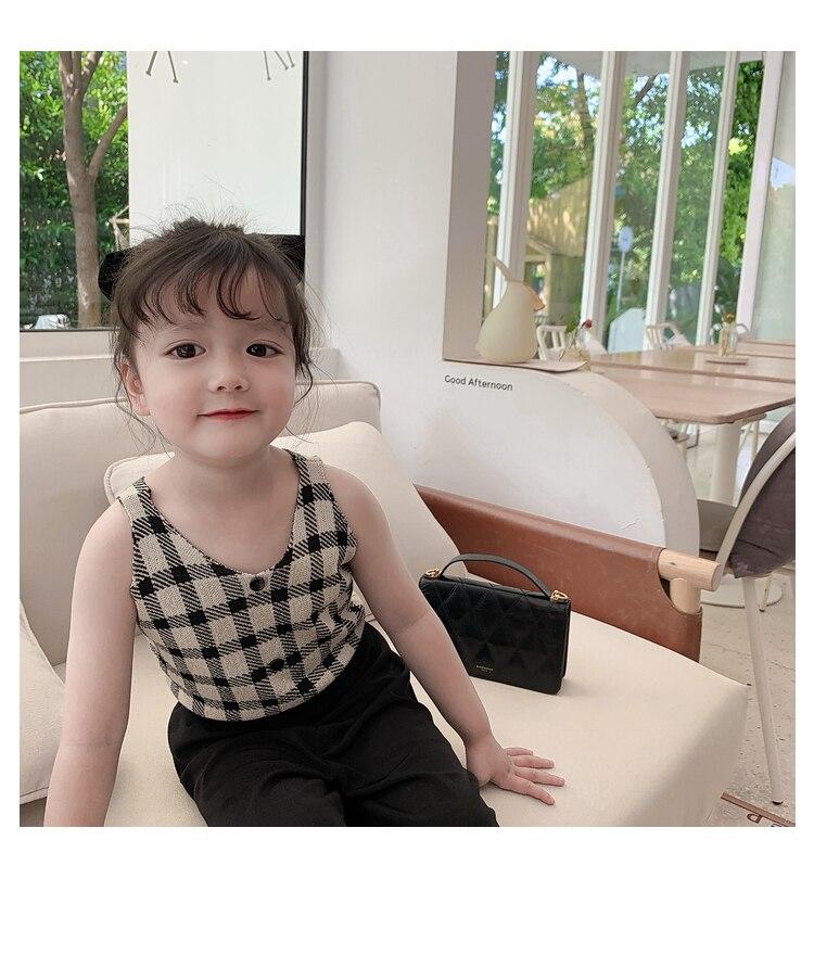 crianças encantador superior meninas coreano v pescoço colete t camisa