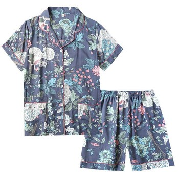 2020 Summer New Ladies Cardigan+Shorts 2Pcs Pajamas Set Floral And Leaves Printed Women Cotton Satin Loose Comfort Home-wear - discount item  59% OFF Women's Sleep & Lounge