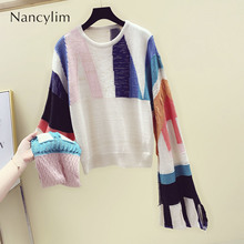2019 Spring Autumn Pull Sweater for Woman Loose Streetwear Long Sleeve Female Student O Neck Color Patch Jumper Knitwear