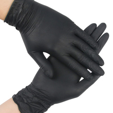 Disposable Black Gloves 10pcs Household Cleaning Washing Gloves Nitrile Laboratory Nail Art Medical Tattoo Anti-Static Gloves new 100pcs 12 disposable white nitrile gloves anti static oil proof safety gloves s m l size for medical use tattoo